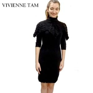 Vivienne Tam Dress with Collar andKnitted Shoulder